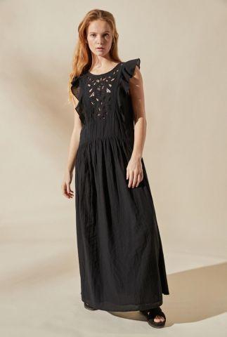 zwarte maxi jurk met ruches en ajour details damascus