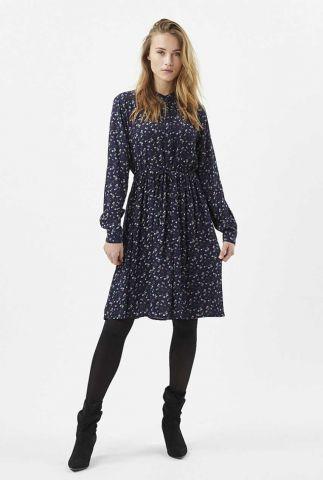 donkerblauwe viscose jurk met bloemen dessin danisa 2017