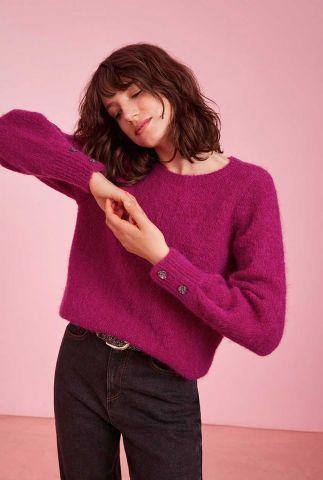 donker roze trui met sier knopen darcy