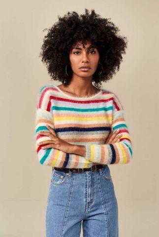 fuzzy trui met gekleurde strepen dessin datsha k1014s