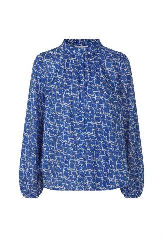 blauwe blouse met sierlijke print en ballonmouwen dayly simple shirt
