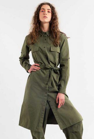 leger groene jurk met ceintuur trondheim leaf green 17846
