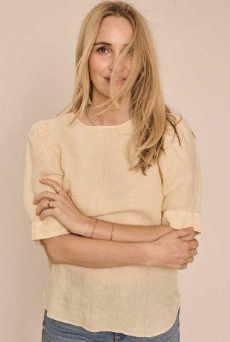 lichtgele top met korte pofmouwen dee ss linen blouse 138440