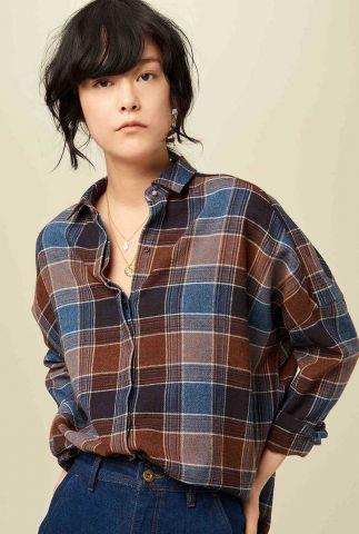 blauw met bruin geruite wolmix blouse deliwool