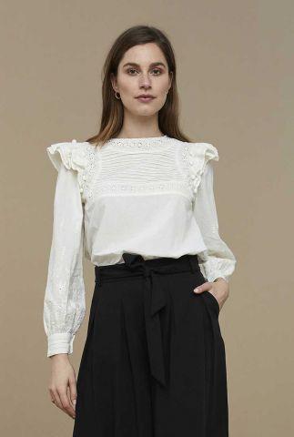 blouse met ruches en broderie details demi blouse