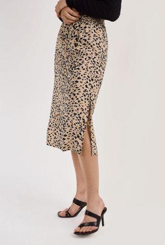 beige midi rok met luipaard dessin demi skirt