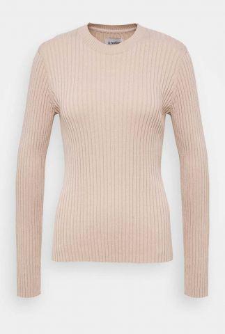 beige fijngebreide trui met rib dessin dena pull