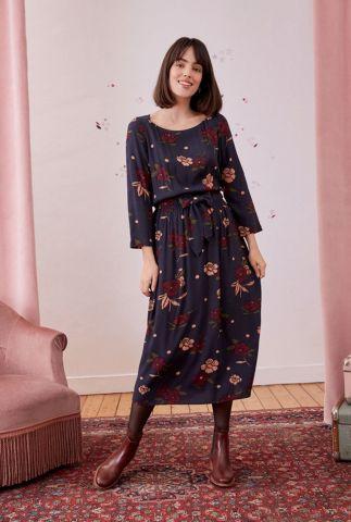 donker blauwe midi jurk met all-over bloemen dessin romary