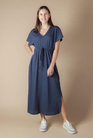 donker blauwe lange jurk met zijsplit en ceintuur diana-l