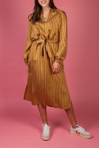 oker geel gestreepte blouse jurk met ceintuur diana dress