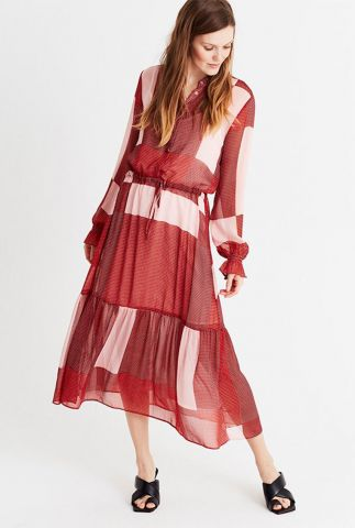rode transparante midi jurk met tunnelkoord diaz dress