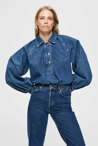 denim blouse met ballon mouwen dina denim top 16076293