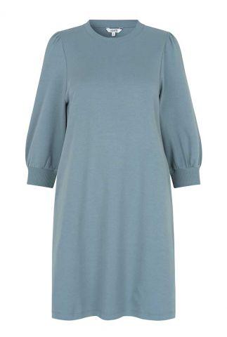 petrol kleurige sweat jurk met 3/4 mouwen disella