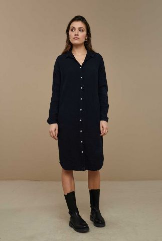 donker blauwe katoenen jurk met wafel structuur doppia dress