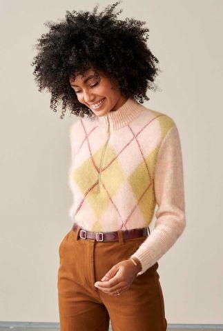 licht roze zacht gebreide trui met ruit dessin douli k1314j