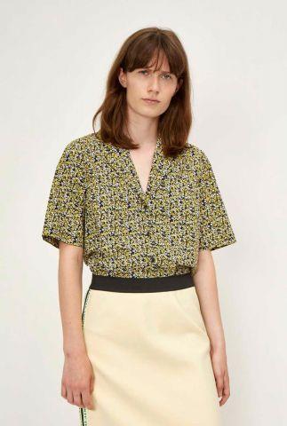 gele blouse van biologisch katoen met bloemen dessin dove shirt