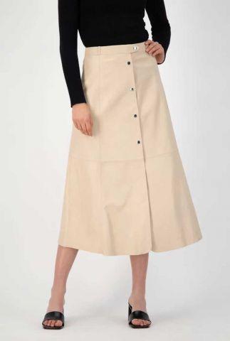 off white leren a-lijn midi rok gc raven skirt