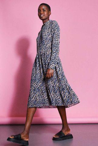 beige met lila blouse jurk in luipaard dessin dr animal clash