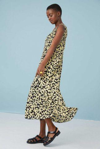 zwarte plisse maxi jurk met madelief print dr daisy field maxi