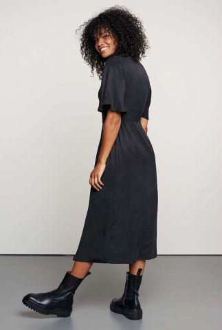 zwarte jurk met v-hals en knoopsluiting dr jina