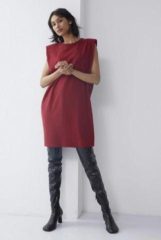 rode jurk met schoudervullingen dr rosie
