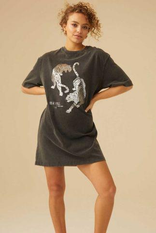 grijs t-shirt jurk met tijger opdruk dr shiney tiger
