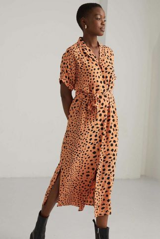 oranje midi jurk met stippen dessin dr sunny spots