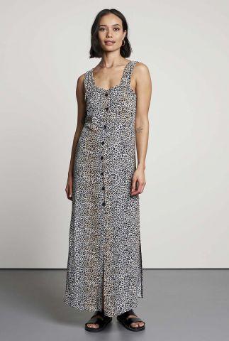 maxi jurk met luipaard print en knoopsluiting print dr wildling