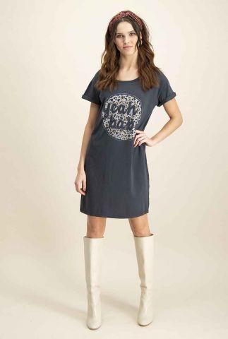 donker grijze t-shirt jurk met opdruk dr desert baby
