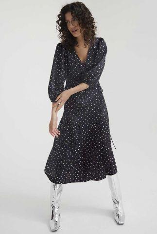 zwarte wikkel jurk met 3/4 mouwen en stippen print dr happy dots