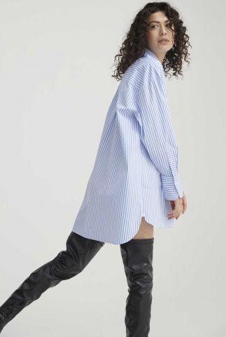 blauw/wit gestreepte blouse jurk dessin dr juniper