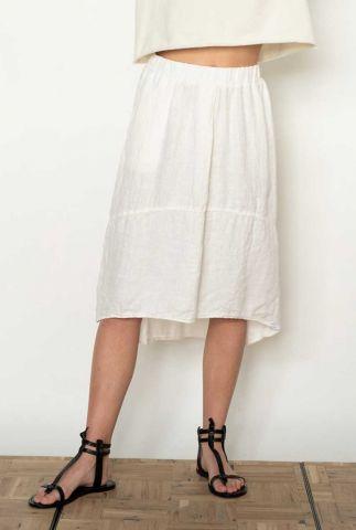 witte linnen rok met elastische tailleband s21w349ltd