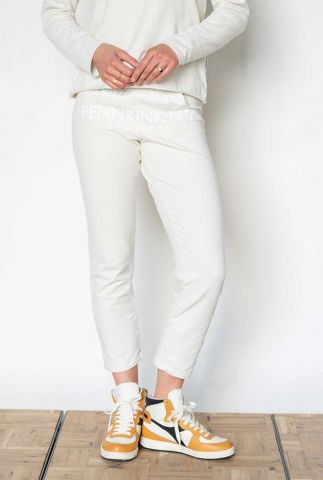 witte katoenmix lounge broek met logo opdruk s21f924ltd