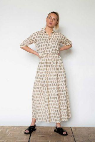 lichtgele maxi jurk met grafische print en tunnelkoord s21f889ltd