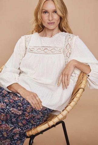 crème kleurige romantische top met opengewerkte details dulcinee
