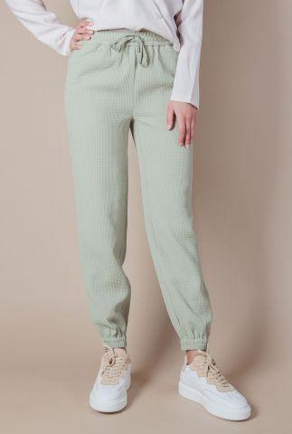 licht groene broek met wafel dessin en tunnelkoord dulice waffle pants
