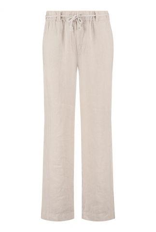beige linnen broek met elastische band 7552302