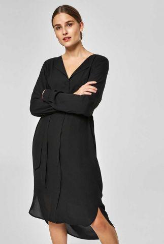 zwarte jurk met ceintuur dynella dress 16065185 dynella dress noos