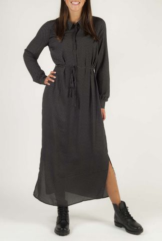 donker grijze maxi jurk met grafische print edna print dress