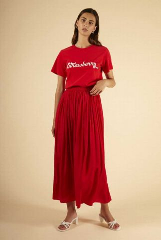 rode maxi rok met elastische tailleband egle skirt