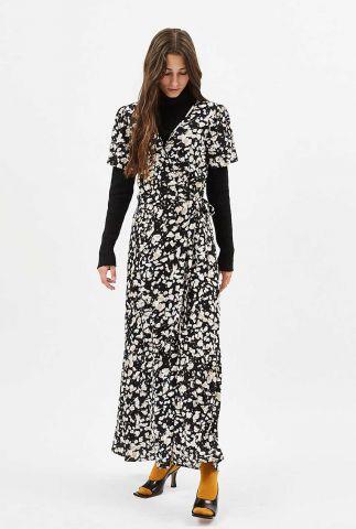zwarte maxi jurk van viscose met overslag elastica 7146