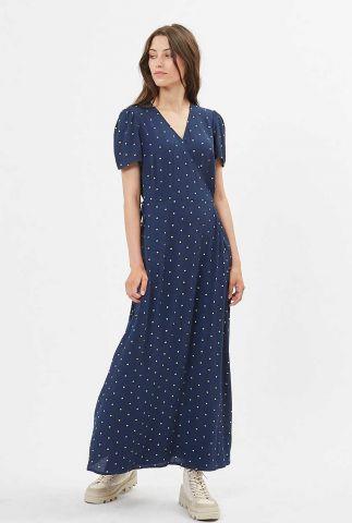 donker blauwe maxi jurk met stippen dessin elastica 7456