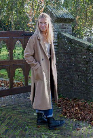 camel kleurige lange wollen jas element wool coat 16073955