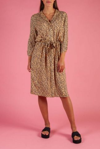 viscose midi jurk met een fijn stippen dessin eli midi dress
