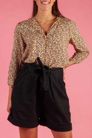beige viscose blouse met fijn stippen dessin eli shirt