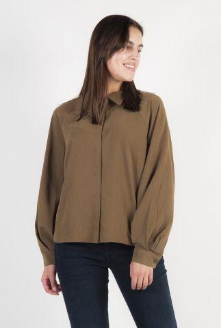 olijf kleurige zachte blouse van modal mix met pofmouwen Elis