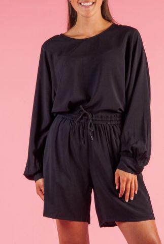 zwarte viscose top met lage rug ellery blouse