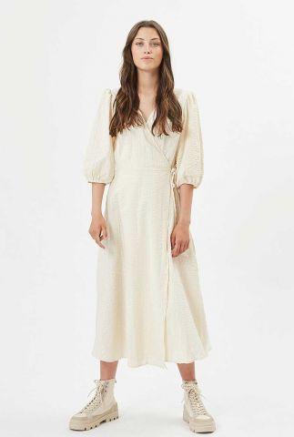 crème kleurige lange jurk met overslag elmina 7470