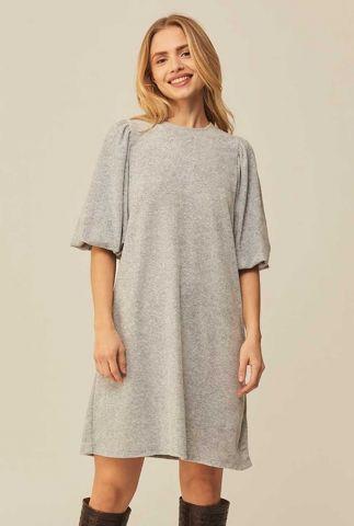 lichtgrijze sweat jurk met ballonmouwen en ronde hals emmaline