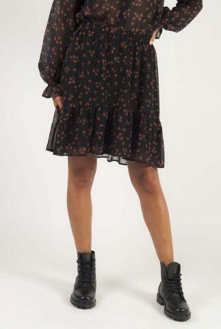 zwarte mini rok met ruffles en bloemen dessin erica print skirt
